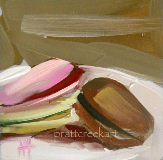 macaroons original painting by moulton 4 x 4 inches