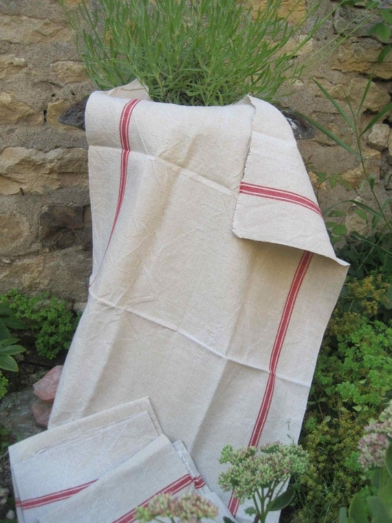 Unused French vintage red stripe hemp and linen tea towel fabric, unhemmed