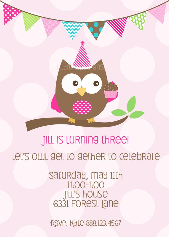 Items similar to owl birthday party invitation owl and for Etsy owl wedding invitations