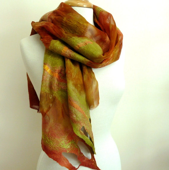 Ladies Scarf Wrap Silk and Wool Scarves Felted Fashion Fall Colors