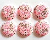 15pcs Cute Swirl Printed Retro Button Size 23 mm Light Pink  ( brown swirl)