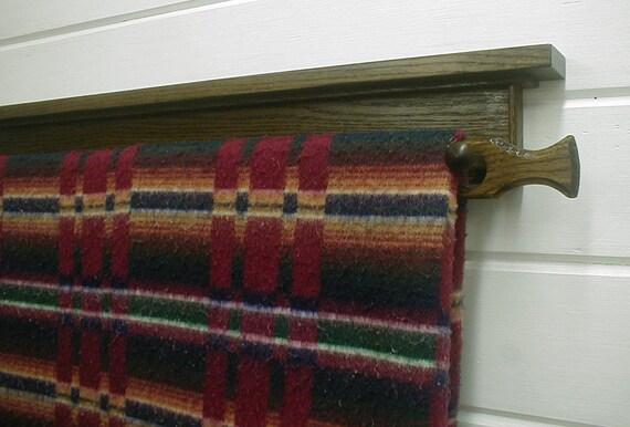 46in. Wall Mounted Oak Hardwood Quilt Rack Dark Brown