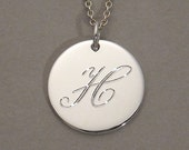 Engraved letter H pendant necklace sterling silver personalized 5/8 inch round circle disc charm SDLCS-L