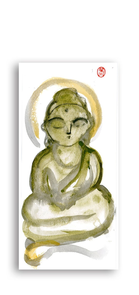 Zen Fine Art  Buddha Meditating Sumi Watercolor Brush Painting