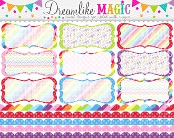 Sweet Rainbows Frames and Scalloped Borders- Clipart for Personal or Commercial Use