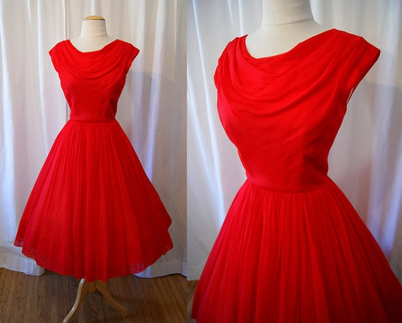 Gorgeous 1950's red silk chiffon new look party dress Mad Men vlv rockabilly - size Medium