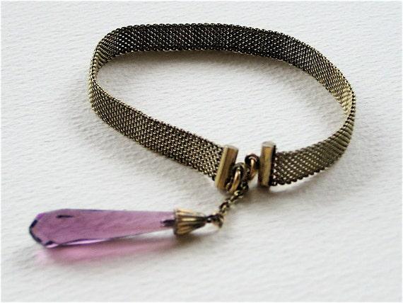 Victorian Teardrop Amethyst Glass Bracelet
