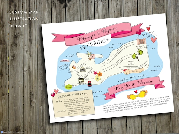 Custom Wedding Map, JPress Designs, wedding, travel, guest guide, destination wedding, save the date, custom map, illustration, Key West