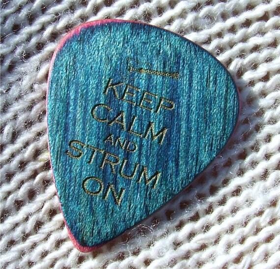 Keep Calm and Strum On - Custom Laser Engraved Dymondwood  Handmade Premium Guitar Pick