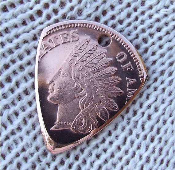 Coin Pick - Handmade with a Proof- like Copper Round - Premium Guitar Pick - Pendant