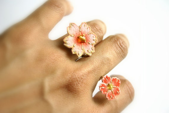 Cherry blossom Double flower textile ring made with sterling silver - pink and red