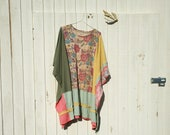 RESERVED - oversized romantic upcycled dress / Funky Eco Blue Floral Dress  / Wrap / Jacket / Poncho / Shirt