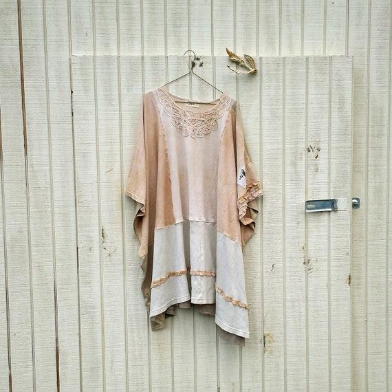 Creme Brulee Poncho - oversized romantic upcycled dress / Funky Eco Floral Dress  / Wrap / Jacket / Poncho / Shirt by CreoleSha