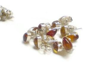 Dominican Amber studs Sterling silver 925 Cognac Amber earrings Teardrop studs (1 pair)