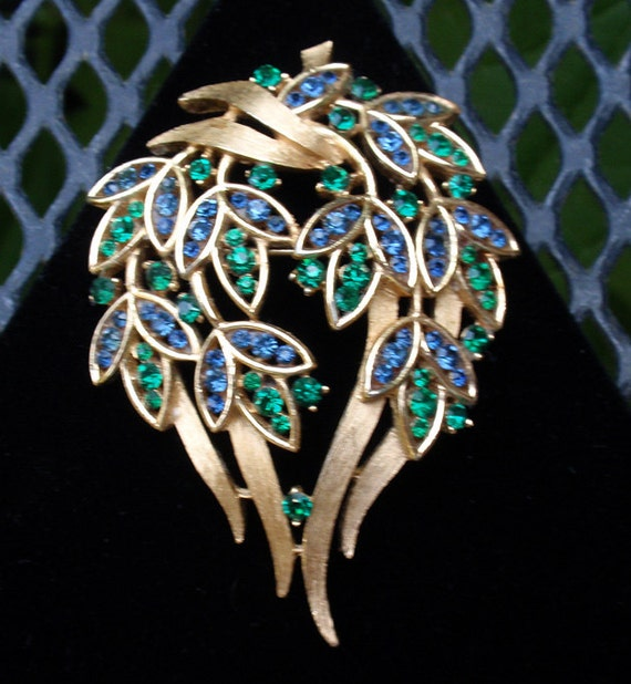 Reserved for Sherry - Crown Trifari 60's Green and Blue Satin Gold Brooch