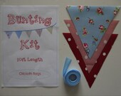 Bunting Kit to make 10ft of Rosebud Blue oilcloth bunting