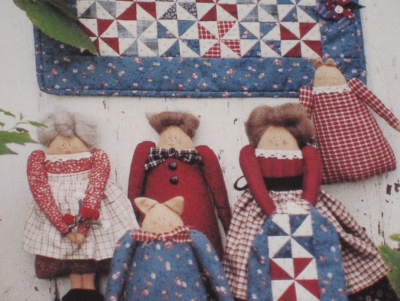 3 Patterns Kit Mini Quilt Doll Cat Country Threads NIP Ladies Aid Doll Pattern Cat Pattern Gift For Mom