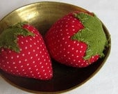 Set of 3 plump and sweet red strawberries