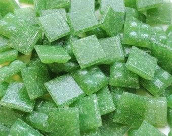 100 Leaf Medium Green Mini Vitreous Glass Mosaic Tiles 3/8 inch//Mosaic Supplies//Mosaics