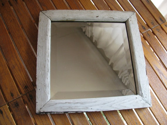 Old Beveled Mirror Handmade Frame Perfectly Aged Shabby Cottage Chic