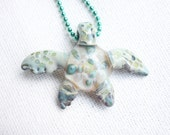 Glass Pendant Jewelry - Glass SEA TURTLE necklace - earth green - Supplies - jewelry - art - gift - nautical - ocean