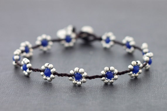 Blue Jade Daisy Silver Braided Anklet
