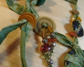 Indian Batik fabric,  bead  and button necklace.