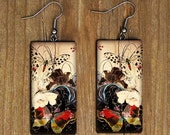 Japanese fantasy garden art painting polymer clay earrings