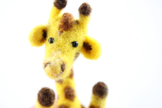 Superhappy felted giraffe