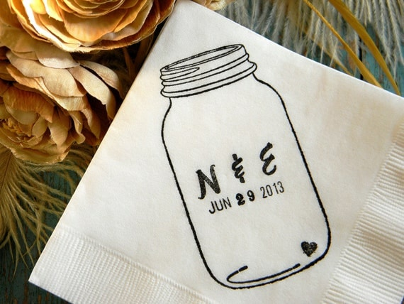 Mason Jar Napkins Personalized Wedding Cocktail Napkins Rustic Shabby Chic-Set of 50 INITIALS & DATE