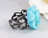 Aqua Rose, Ring,Blue Flower,Aqua,Turquoise,,Blue Rose,Ring,Rose Ring,Antique Ring,Handmade jewelery by valleygirldesigns.