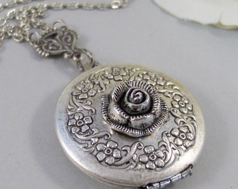 Frosted Rose,Locket,Silver Locket,Rose,Flower,Antique Locket,Antique,Nature,Woodland,Silver. Handmade jewelry by valleygirldesigns.