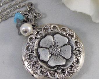 Gypsy Flower, Locket,Silver Locket,Antique Locket,Flower Locket.,Blossom,Gypsy Flower. Handmade Jewelry by ValleyGirlDesigns.
