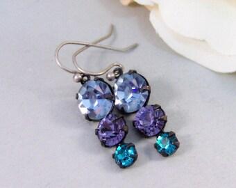 Blue Ivy,Earring,Vintage Earrings,Blue,Sapphire,Tanzanite,Aquamarine,Sapphire Earrings,Rhinestone. Handmade Jewelry by valleygirldesigns.