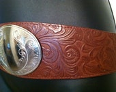 RESERVED Vintage 1980s Tooled Western Belt with Large Silver MedallionRESERVED
