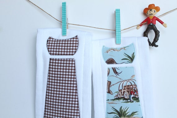 Baby Burp Cloths with Necktie in Cowboys and Gingham, Set of 2 Baby Boy Burp Cloths, Blue, Red, and Chocolate Brown