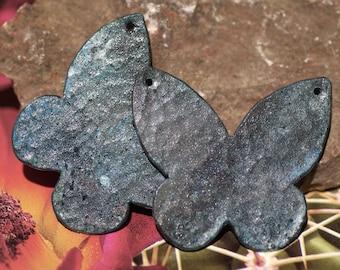 Patina Verdigris Blank Copper Shapes - Pair of Sheek Flutterbug Butterfly Magic Blanks