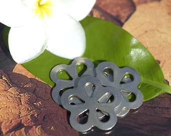 Nickel Silver Flower Blank with Teardrop Center Cutout for Stamping Texturing Soldering Metalworking