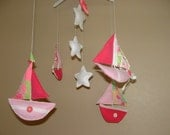 Baby Crib Mobile - Baby Mobile - Sailboats  and Stars with Lilly Pulitzer accented Sails Nursery Mobile