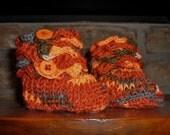 Orange Crocodile Stitch Crocheted Baby Booties Newborn