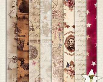 INSTANT DOWNLOAD Gettysburg Papers 12x12 Scrapbook papers Tags Cards Journaling