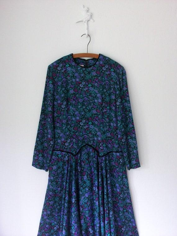 Vintage Dirndl Dress ... 90's Talbots Flower Print Frock ... Large