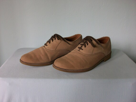Men's Leather Oxfords ... Buff Sand Tan Leather Shoes ... size 10