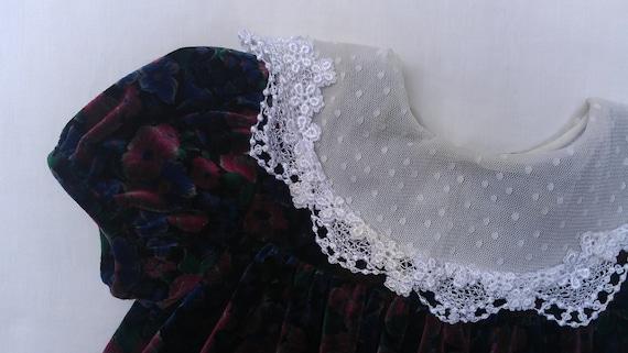 VINTAGE  GIRLS Black Floral VELVETEEN Dress Size 18 months