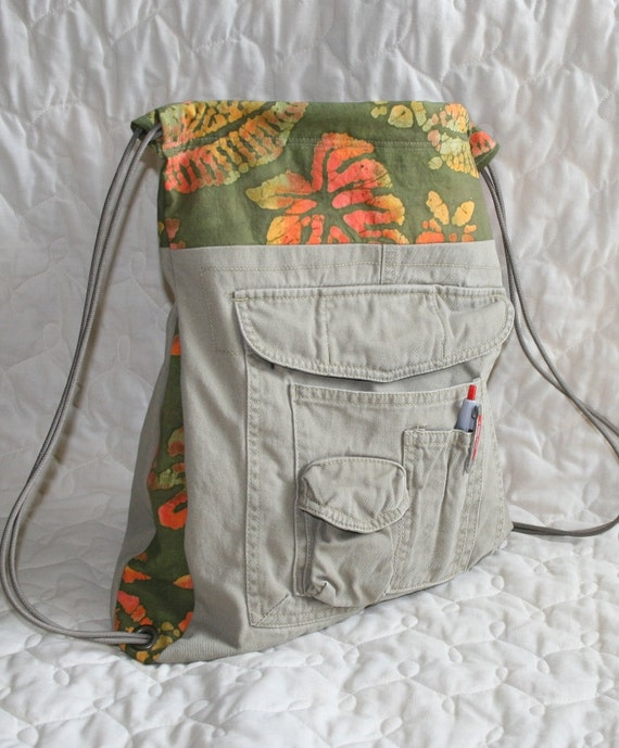 Cargo backpack with  lots of pockets and batik trim