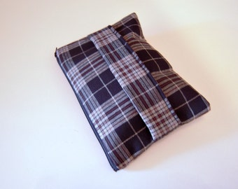Plaid Clutch in Black and Gray with Front Handle