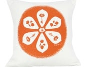 Decorative Pillow, Orange, Round Flower Graphic, Hand Screened on Cotton Bark Cloth, 15 inch