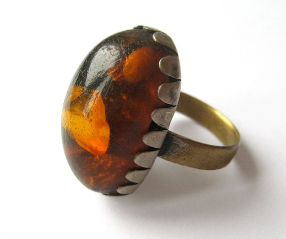 Baltic amber ring, vintage ring with genuine baltic amber