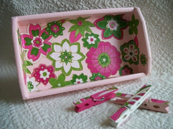 Pucci Floral Decoupaged Tray and Clothespin Set of Three Treasury Item