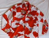 Vintage 70s Red Tori Richard Japanese Print Mens Shirt S Small